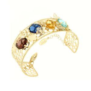 Bracciale Oro Giallo 14kt COn Gemme Multicolori Moresque Collection.Designer Gabriela Rigamonti