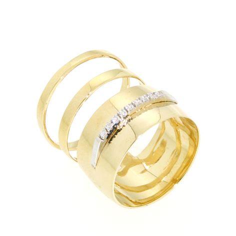 Anello cubic zirconi in oro 14kt.Glitter Collection.designer Gabriela Rigamonti