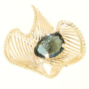 Anello london quartz topazio in oro 14kt.Dune Collection.designer Gabriela Rigamonti
