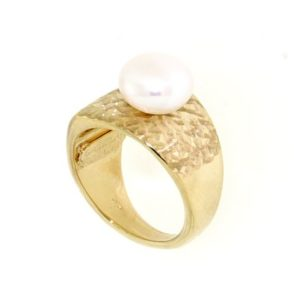 Anello con perla di fiume in oro 14kt.Wedding collection.designer Gabriela Rigamonti