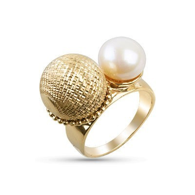 Anello oro 14kt con perla di fiume.Wedding collection.Designer Gabriela Rigamonti