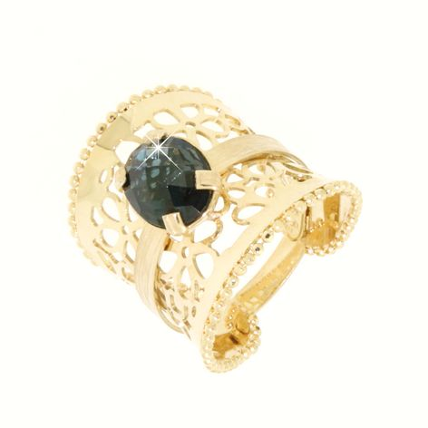 Anello blu topazio in oro 14kt.Moresque Collection.designer Gabriela Rigamonti