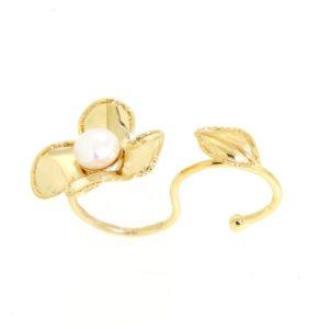 Doppio Anello fiore con perla di fiume in oro 14kt.Wedding Collection.designer Gabriela Rigamonti