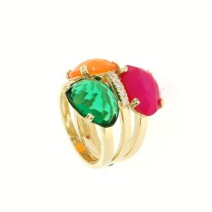 Anello gemme semipreziose con zirconi in oro 14kt.Rainbow collection.Designer Gabriela Rigamonti