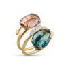 Anello morganite,london blue topazio,cubic zirconi in oro 14kt.Glitter Collection.designer Gabriela Rigamonti