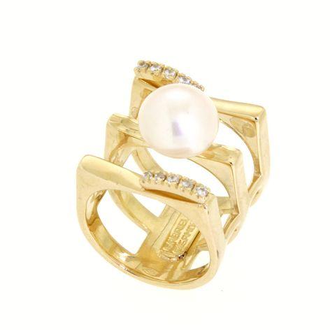 Anello zirconi in oro 14kt con perla di fiume.Wedding collection.Designer Gabriela Rigamonti