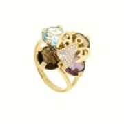 Anello multigemme colorate,zirconi,perla di fiume in oro 14kt.Rainbow collection.Designer Gabriela Rigamonti