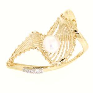 Anello perla di fiume e zirconi in oro 14kt.Wedding collection.Designer Gabriela Rigamonti