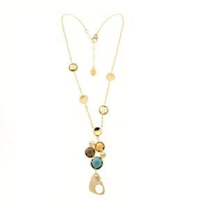 Collana con gemme multicolori in oro giallo 14kt.Designer Gabriela Rigamonti