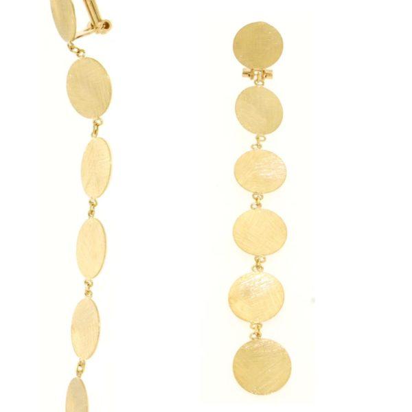 Orecchini satinati in oro giallo 14kt.Designer Gabriela