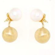 Orecchini perla in oro giallo 14kt.Designer Gabriela Rigamonti