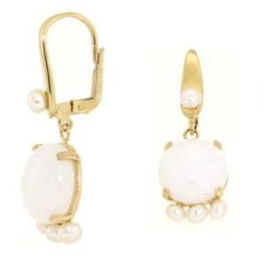Orecchini agata inoro in oro 14kt,perla di fiume e agata bianca.Designer Gabriela Rigamonti