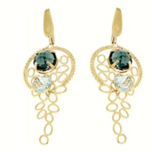 Orecchini blue topazio e london blue topazio in oro 18kt.Rainbow collection.Designer Gabriela Rigamonti