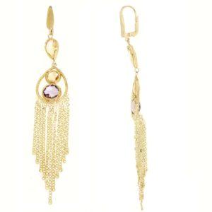Orecchini oro giallo 14kt con morganite e lemon quartz.Rainbow Collection.designer Gabriela Rigamonti