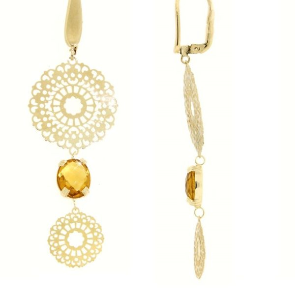 Orecchini oro citrino color cognac in oro 14kt.Rainbow Collection.Designer Gabriela Rigamonti