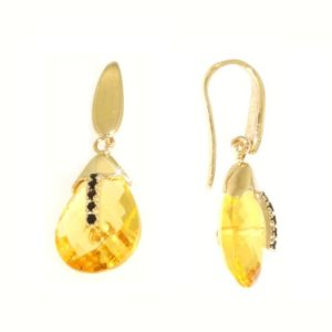 Orecchini lemon quartz,zirconi neri in oro 14kt.Rainbow Collection.Designer Gabriela Rigamonti