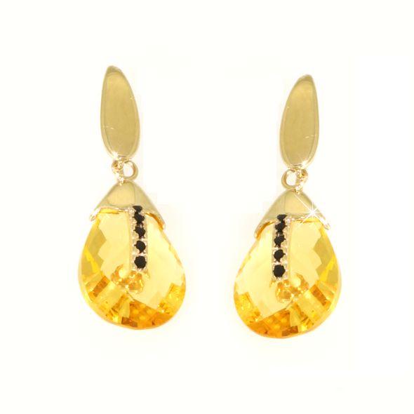 Orecchini lemon quartz,zirconi neri in oro 14kt.Rainbow Collection.Designer Gabriela Rigamonti