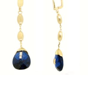 Orecchini quarzo blu con zirconi in oro14kt.Rainbow Collection.Designer gabriela Rigamonti