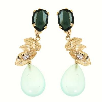 Orecchini oro gemme agata e london sky topazio con zirconi.Rainbow Collection.Designer Gabriela Rigamonti
