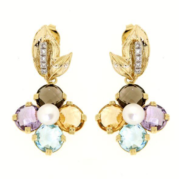 Orecchini oro gemme multicolori,perle di fiuem e cubic zirconi in oro 18kt.Rainbow Collection.Designer Gabriela Rigamonti