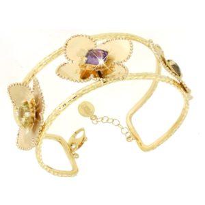 Schiava Bracciale in oro 14kt con gemme.Designer Gabriela Rigamonti
