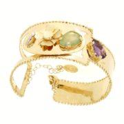 Bracciale oro con gemme.Designer Gabriela Rigamonti
