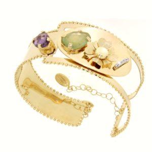 Bracciale in oro con gemme.Designer Gabriela Rigamonti
