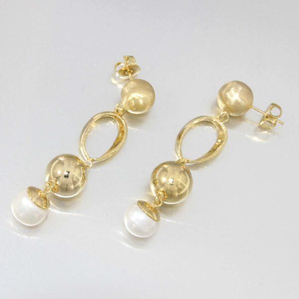 Orecchini oro giallo 14kt con perla di fiume naturale