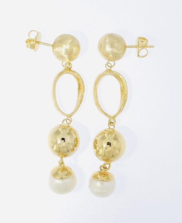 Orecchini oro 14kt con perla di fium