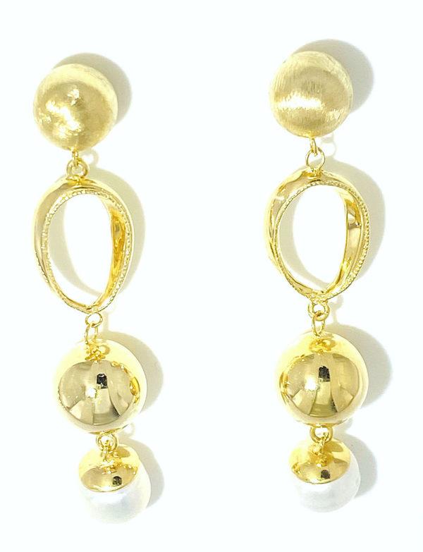 Orecchini oro giallo 14kt con perla di fiume