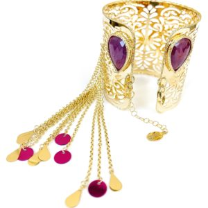 Yellow gold bangle in 18kt with ruby gemstone and colorful gold elements.Glitter Collection.Design Gabriela Rigamonti