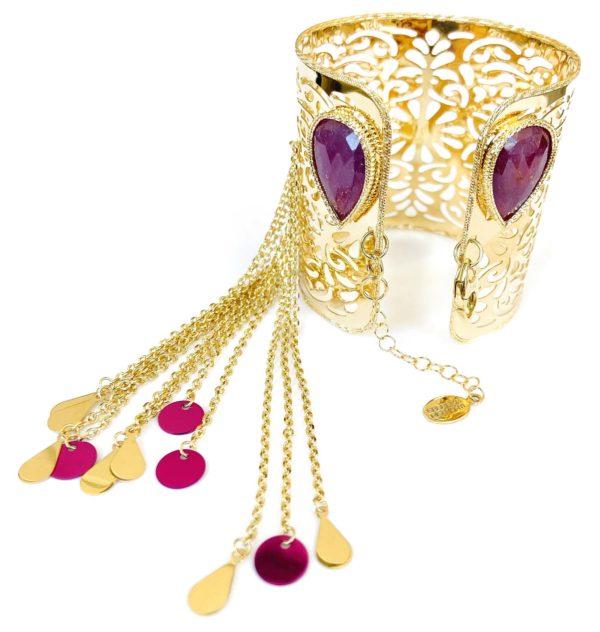 Schiava in oro giallo 18kt con Rubini ed inserti di oro colorato.Collezione Glitter.Designer Gabriela Rigamonti