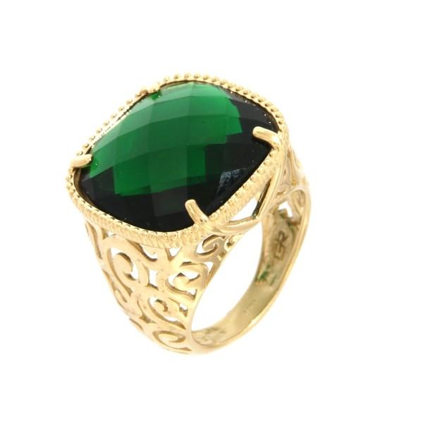 Anello Oro giallo con gemma di smeraldo quarzo verde.Moresque Collection.Designer Gabriela Rigamonti