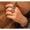 Anello Oro onice nero e quarcite Arancione