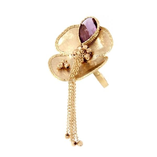 Anello Oro Giallo con ametista.Disponibile anche in oro 14Kt e 18Kt