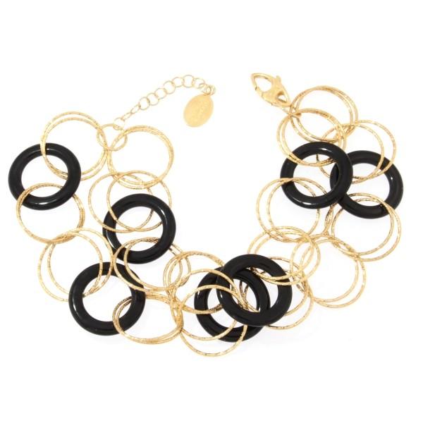 Bracciale oro giallo e Onice nera -Moresque Collection Disponibile in oro 14Kt e 18Kt
