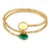 Bracciale Oro giallo con gemma di smeraldo quarzo verde e lemon.Moresque Collection.Designer Gabriela Rigamonti