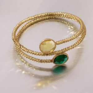 Yellow gold bracelet with emrald green and lemon quartz. Moresque Collection.Designer Gabriela Rigamonti