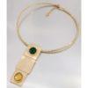 Collana Oro giallo con gemma di smeraldo quarzo verde e lemon.Moresque Collection.Designer Gabriela Rigamonti