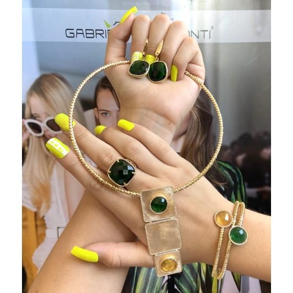 Set Oro Giallo con quarzo smeraldo verde e lemon