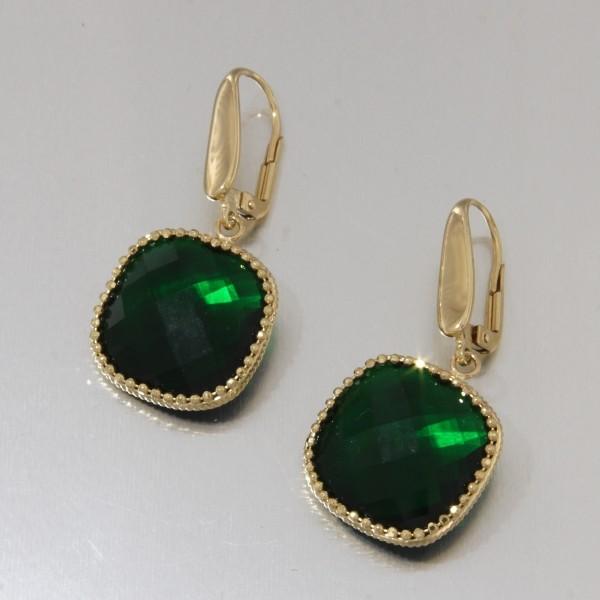 Orecchini Oro Giallo con quarzo smeraldo verde Rainbow collection