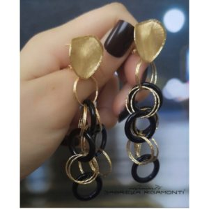 Yellow gold earrings with black onyx -Moresque Collection Available both in 14Kt and18Kt gold