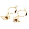 Yellow gold butterfly earrings with smoky topaz gemstone