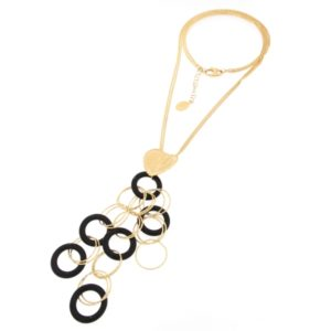 Yellow gold necklace with black onyx -Moresque Collection Available both in 14Kt and18Kt gold