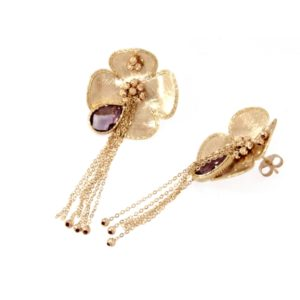 Gold flower earrings 14kt and amethyst