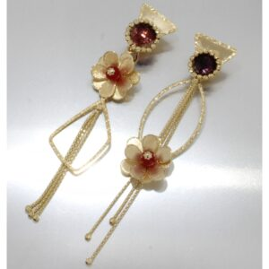 Yellow gold earrings with amethyst,morganite and ruby quartz