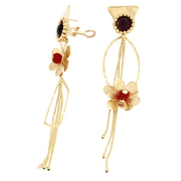 Orecchini oro giallo con ametista,morganite e quarzo rubino