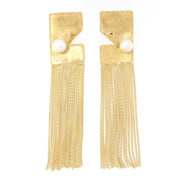 Orecchini oro giallo 18kt con perla di fiume naturale