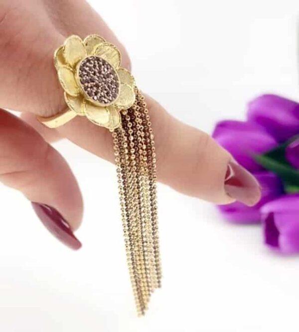 Anello Oro Giallo e marrone 18 kt con zirconi marroni.Glitter Collection Designer Gabriela Rigamonti