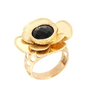 Yellow gold ring with black onyx. Also available in 14Kt and 18Kt gold.Glitter Collection.Designer Gabriela Rigamonti